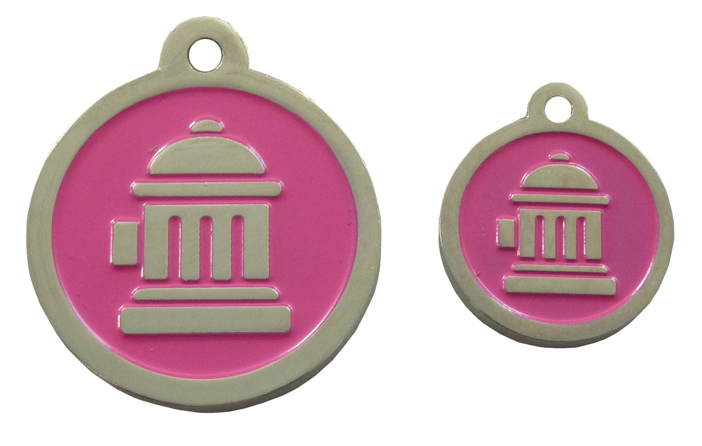 Coco & Pud Fire Hydrant ID Tag - Pink Silver