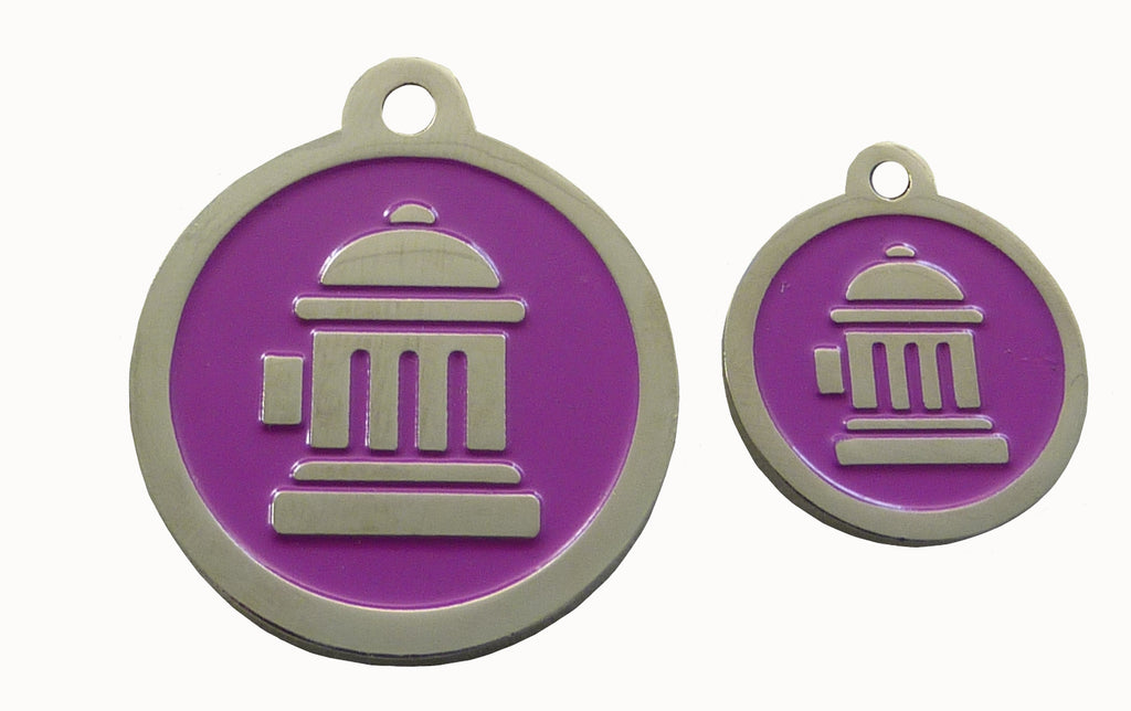 Fire Hydrant ID Tag - Purple & Silver