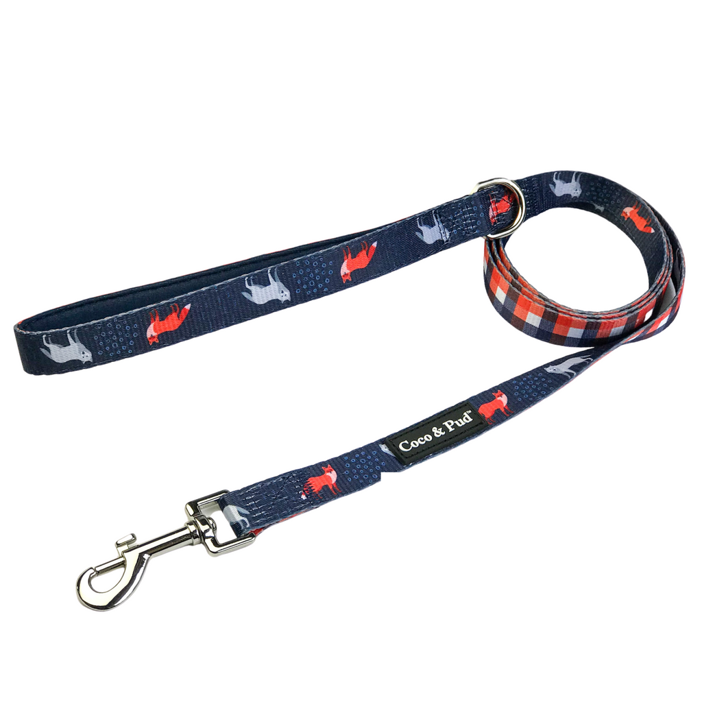 Coco & Pud Fox & Friends Reversible Dog Lead