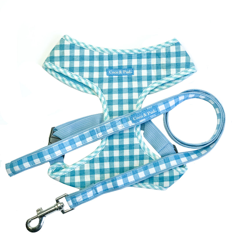 Coco & Pud Gingham Harness & Lead Set Blue