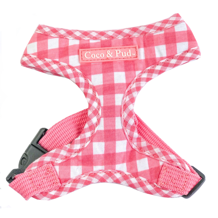 Coco & Pud Gingham Kitten Harness - Pink