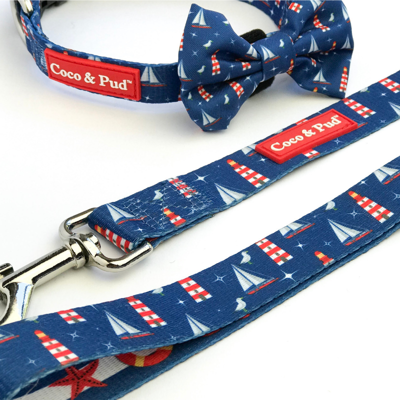 Coco & Pud Hamptons Dog Collar & Bowtie