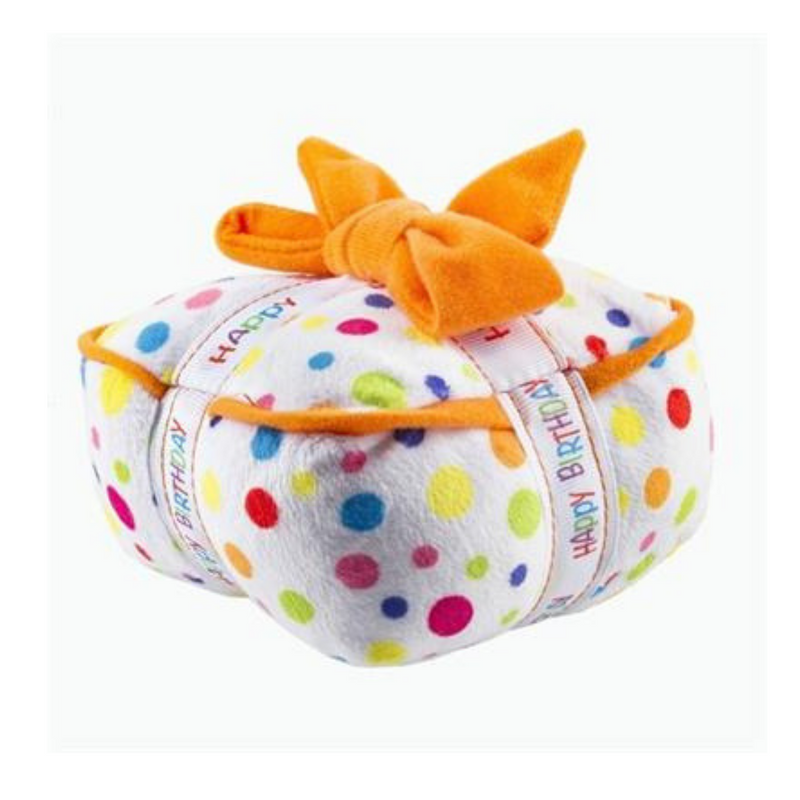 Coco & Pud Happy Birthday Gift Box Dog Toy side view