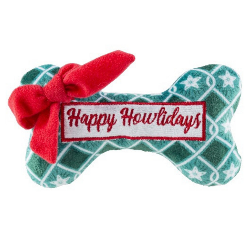 Green Stars Bone - Happy Howlidays Dog Toy - Coco & Pud