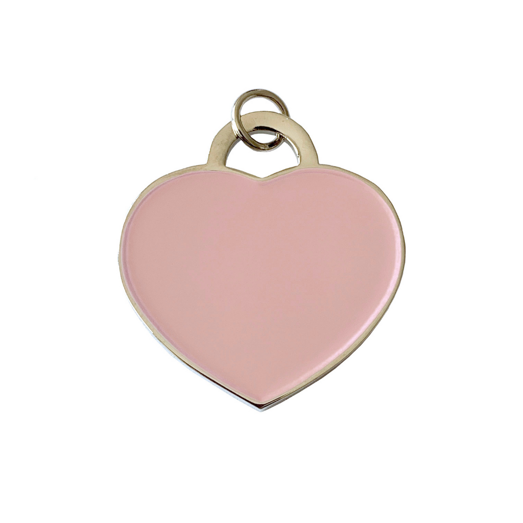 Coco & Pud Audrey Heart Dog ID Tag Silver/Pink