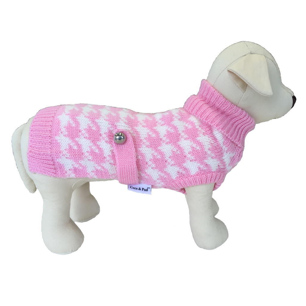 Coco & Pud Houndstooth Dog Sweater - Pink & White