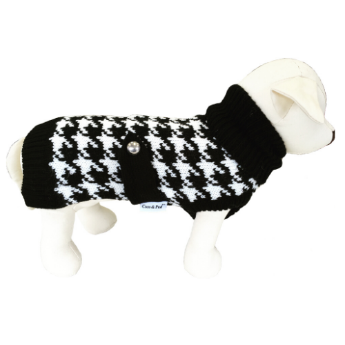 Coco & Pud Houndstooth Dog Sweater -Black/ White - Coco & Pud