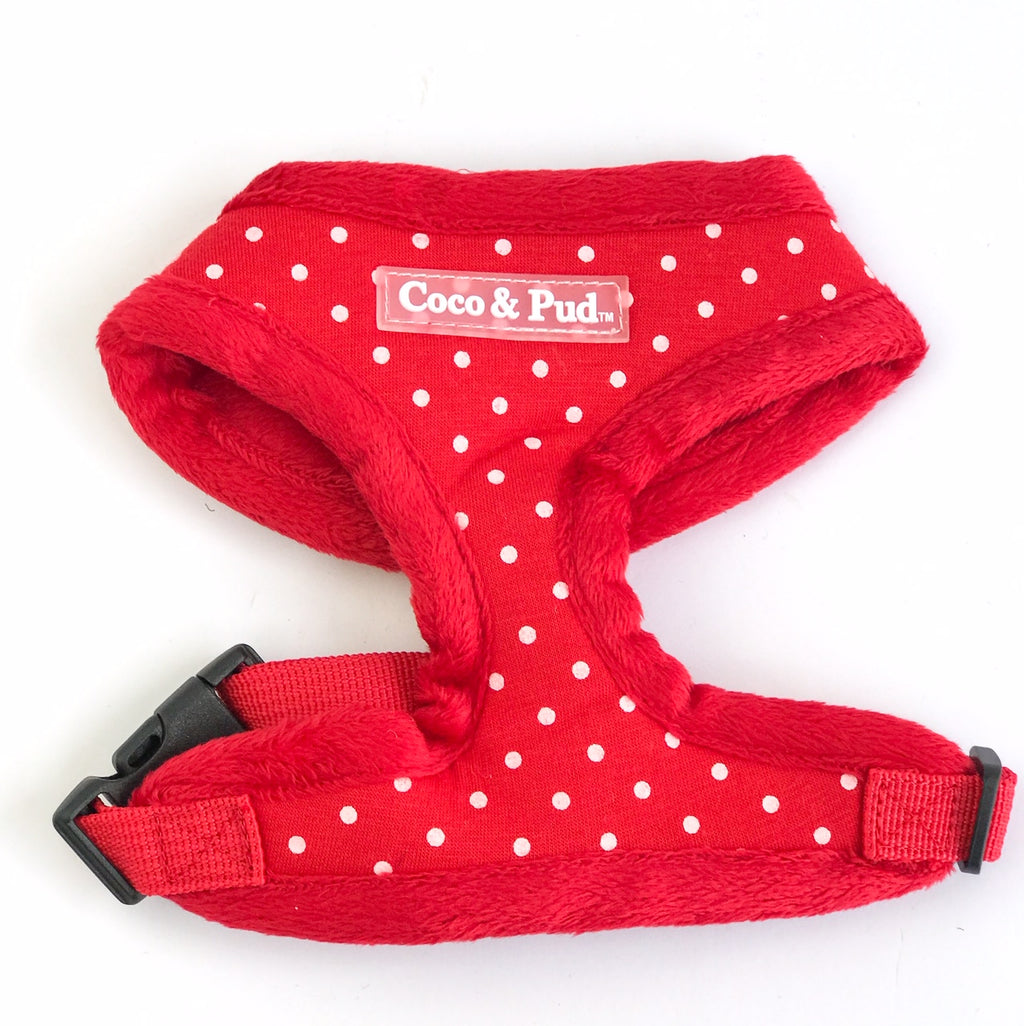 Coco & Pud Polka Dot Cat harness - Red