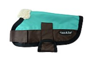 Coco & Pud 3009 Waterproof Dog Coat 20-25cm Teal/ Choc