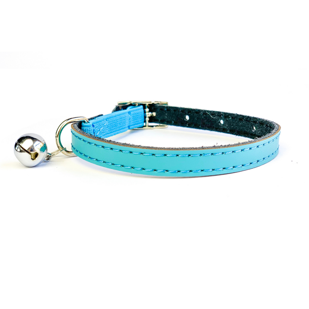Coco & Pud Leather Safety Cat Collar Blue