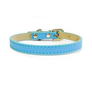Coco & Pud Leather Puppy Collar Blue