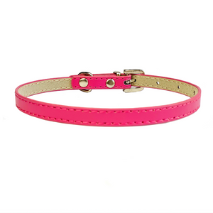 Coco & Pud Leather & Crystal Buckle Puppy Collar Pink