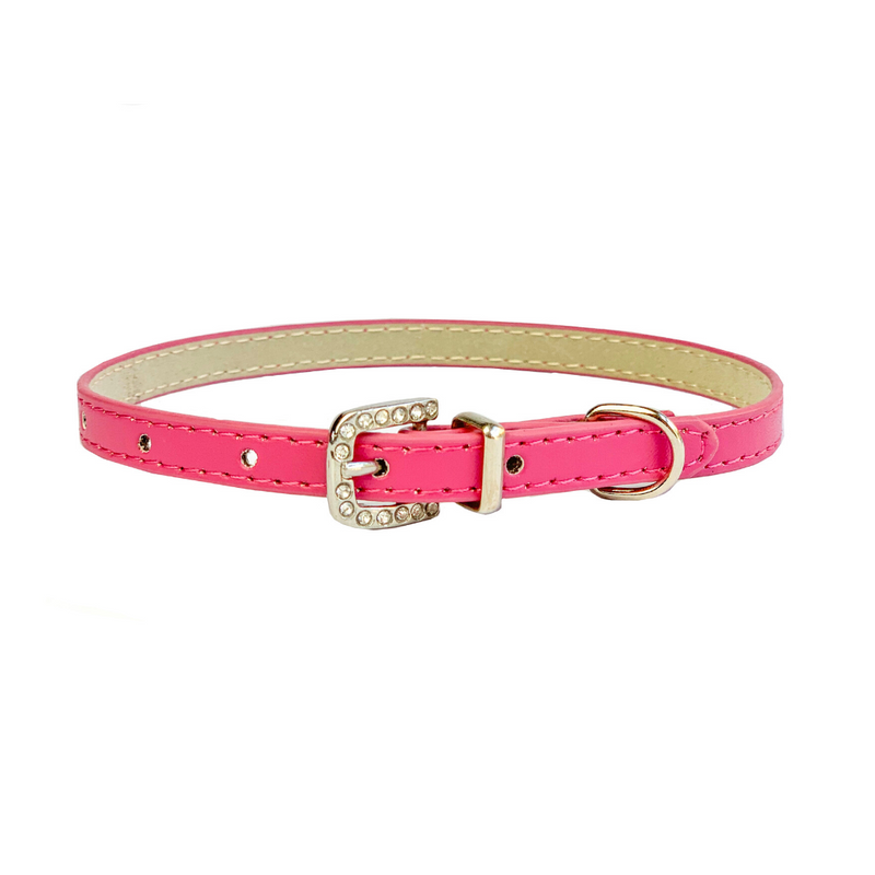 Coco & Pud Leather & Crystal Buckle Puppy Collar