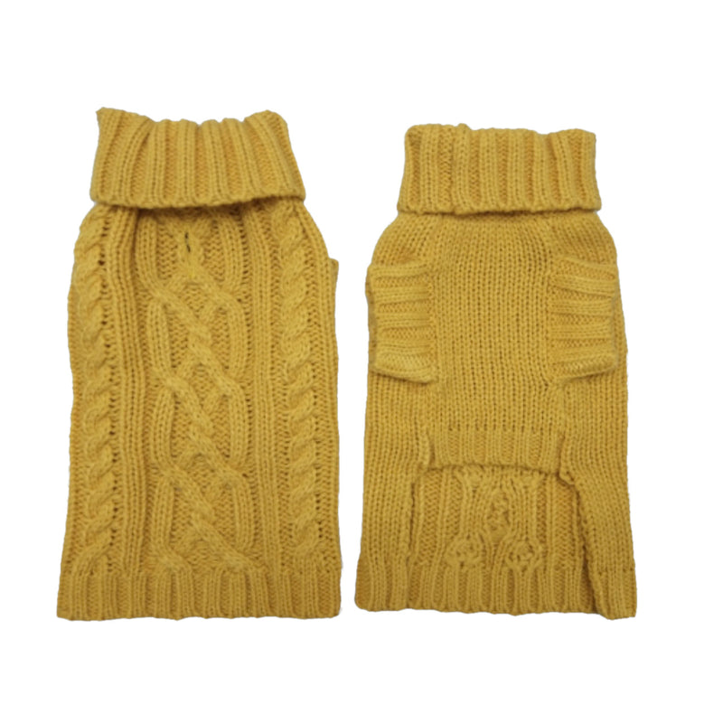 Coco & Pud Cable Dog Sweater Mustard Front & Reverse