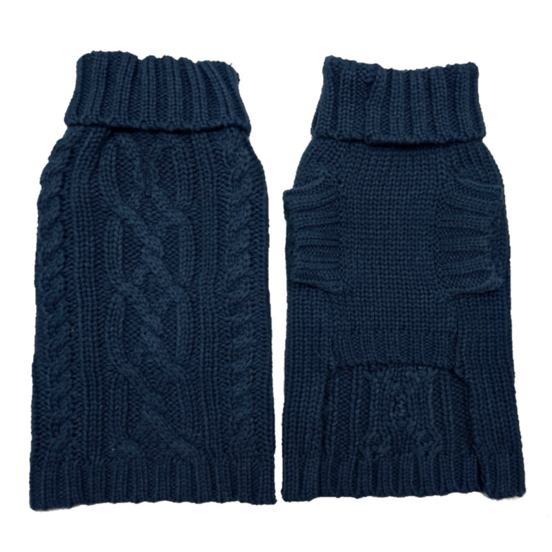 Coco & Pud Cable Dog Sweater Navy Front & reverse