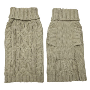 Coco & Pud Cable Dog Sweater  Oatmeal Front & back