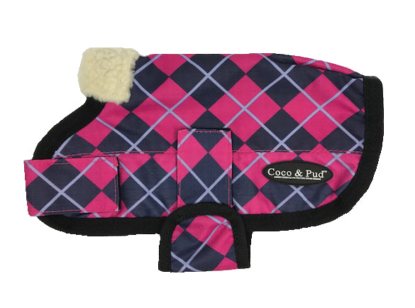 Coco & Pud 3009 Waterproof Dog Coat 20-25cm-Pink Check