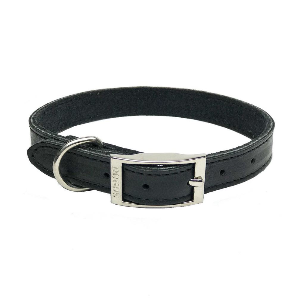 DOGUE Plain Jane Leather Dog Collar -Black