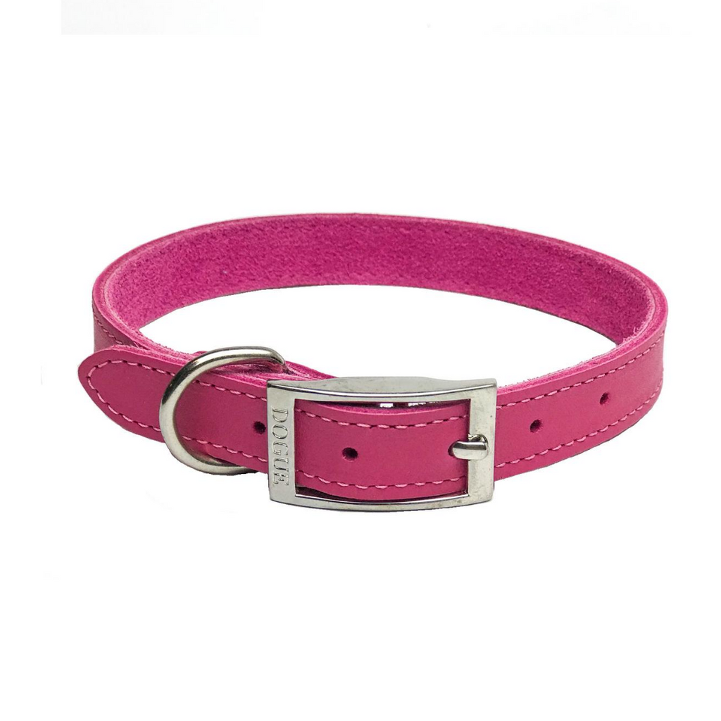 DOGUE Plain Jane Leather Dog Collar -Fuschia