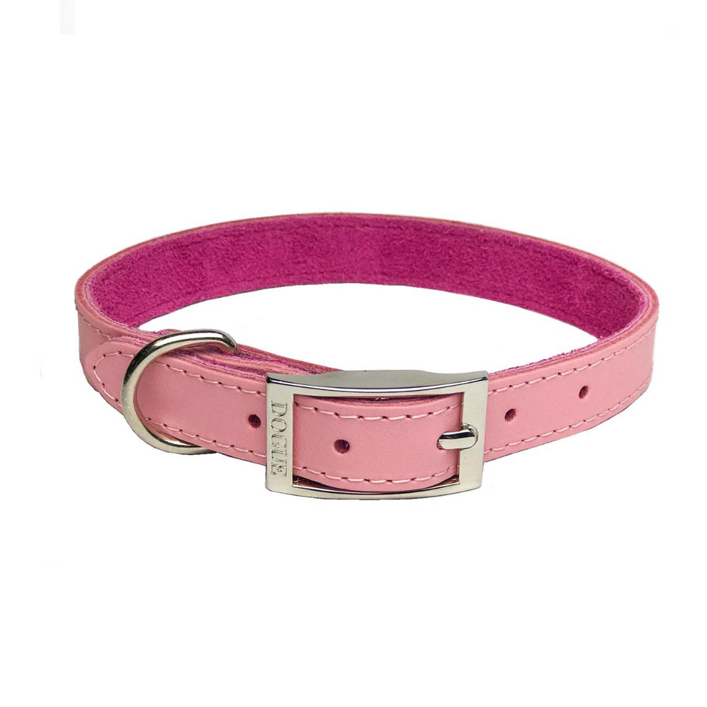 DOGUE Plain Jane Leather Dog Collar -Pink