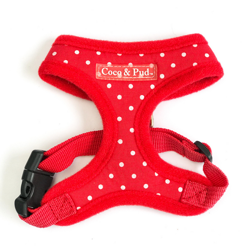 Coco & Pud Polka Dot Kitten Harness Red
