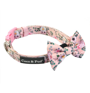 Coco & Pud Provence Rose Collar & Bow tie