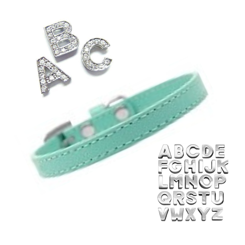 Plain Puppy Collar with Crystal Buckle  Aqua - Coco & Pud