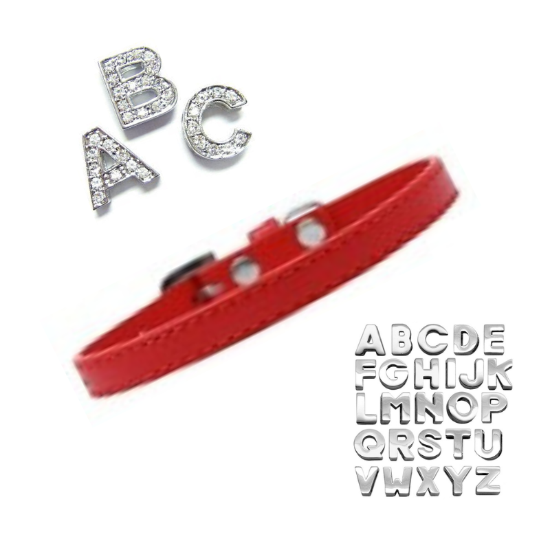 Plain Puppy Collar with Crystal Buckle - Red - Coco & Pud