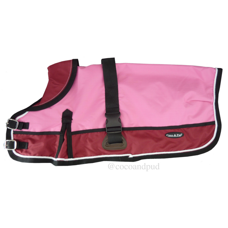 Waterproof Dog Coat 3022-B Pink/ Red (For Big Dogs)