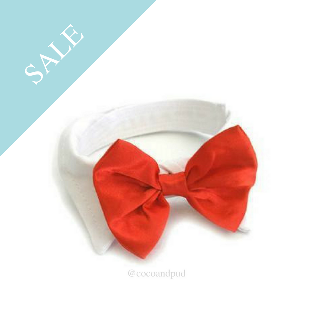 Red Satin Bow Tie Collar - Coco & Pud