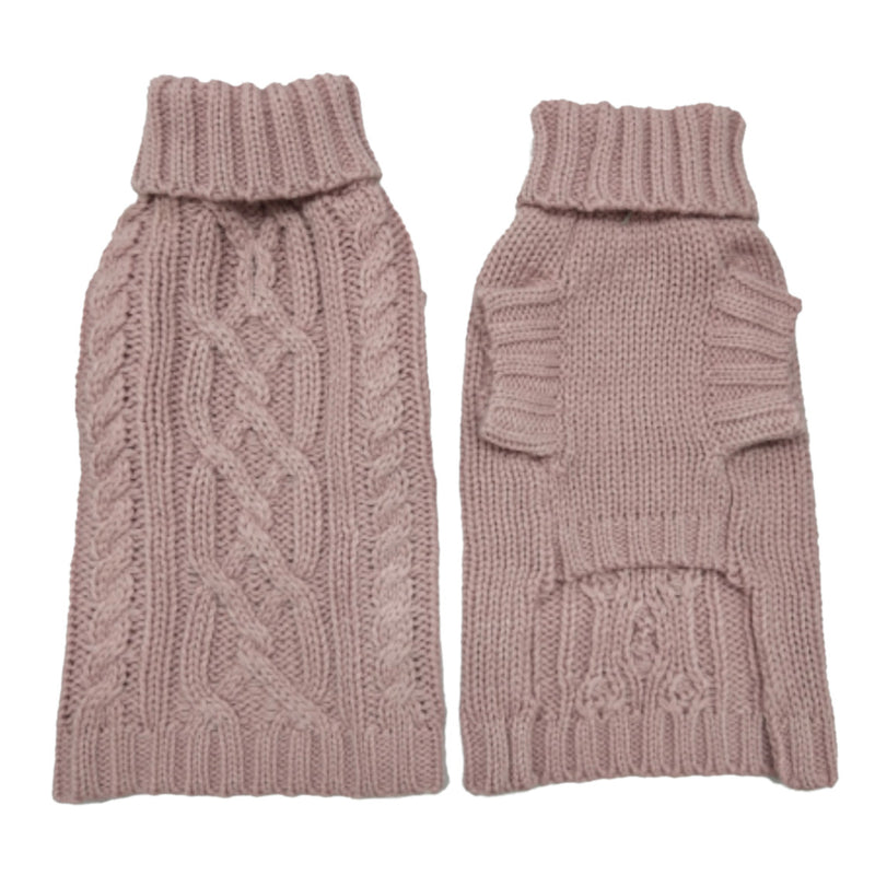 Coco & Pud Cable Dog Sweater Rose Front & back