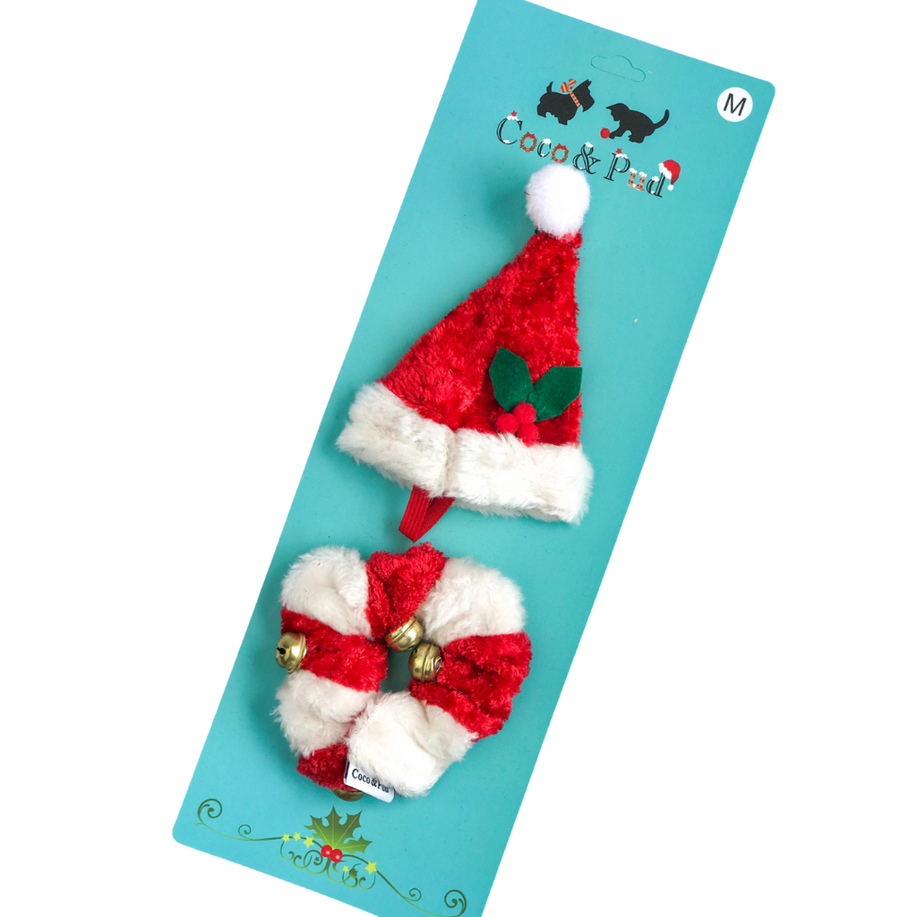 Coco & Pud Christmas Hat & Collar for dogs