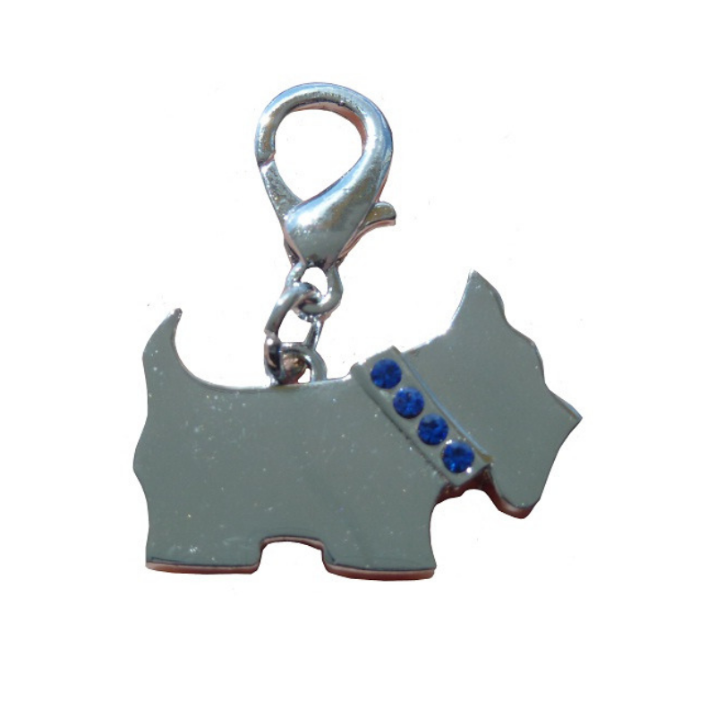 Coco & Pud Scotty Dog Collar Charm - Silver & Blue Crystals