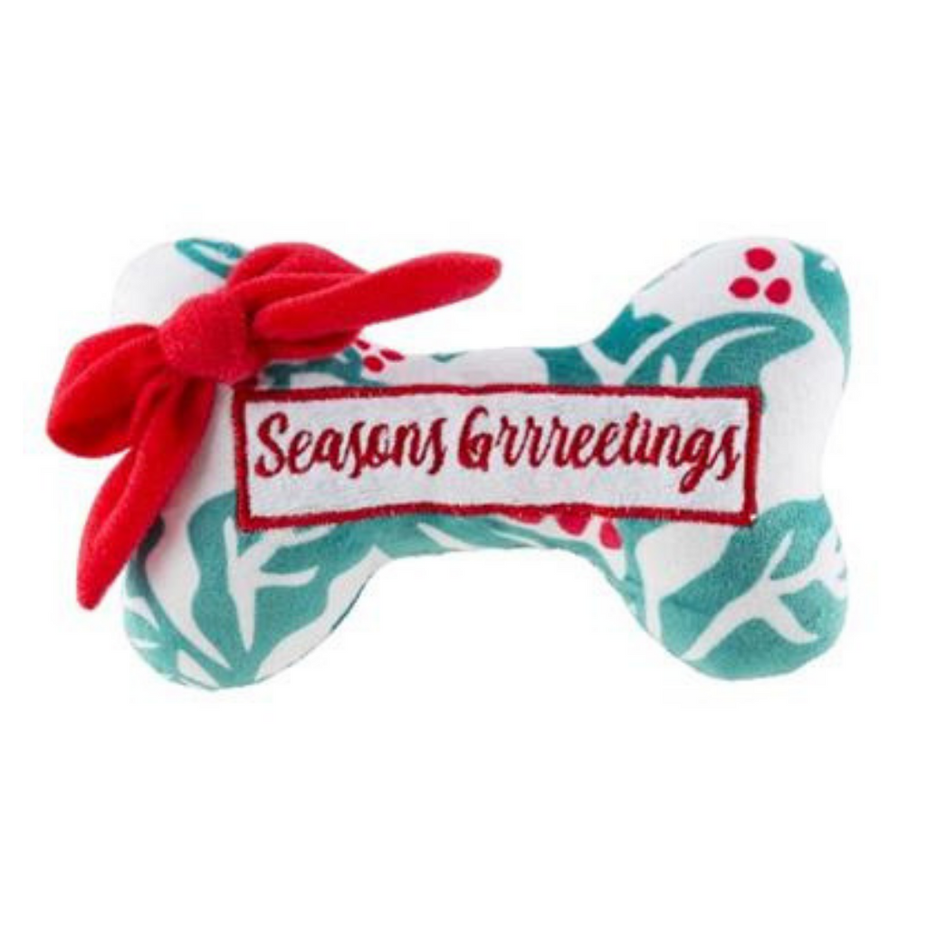 Holly Print Bone Seasons Grrreetings Dog Toy - Coco & Pud