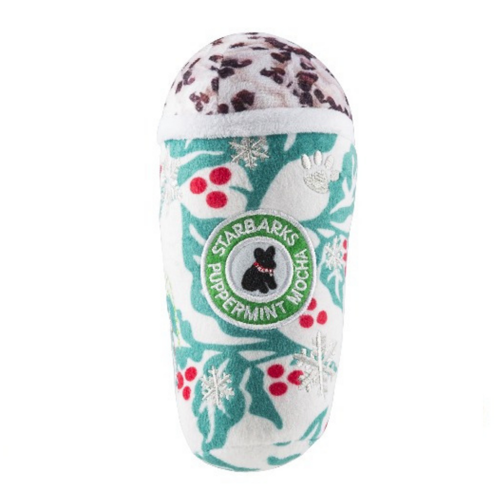 Coco & Pud Starbarks Puppermint Mocha Holly Leaves Dog Toy