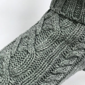 Coco & Pud Cable Dog Sweater Storm grey Texture