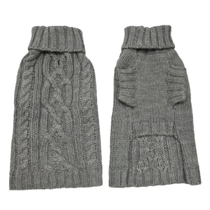 Coco & Pud Cable Dog Sweater Storm front & Back