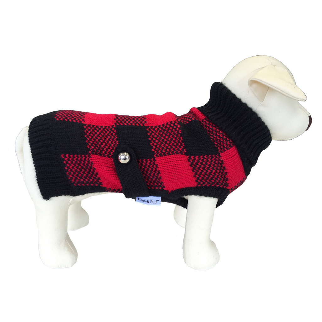Coco & Pud Boston Dog Sweater - Red/ Black