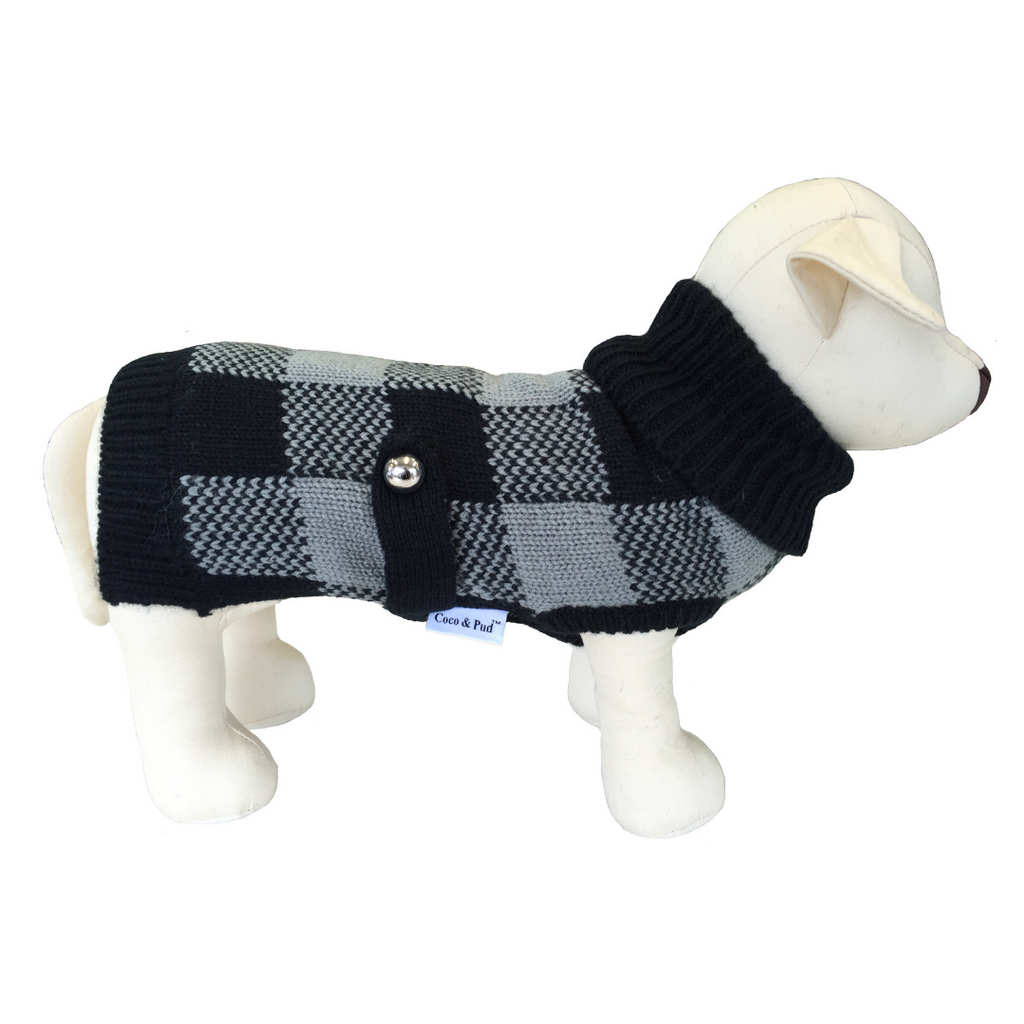 Coco & Pud Boston Dog Sweater - Grey/ Black