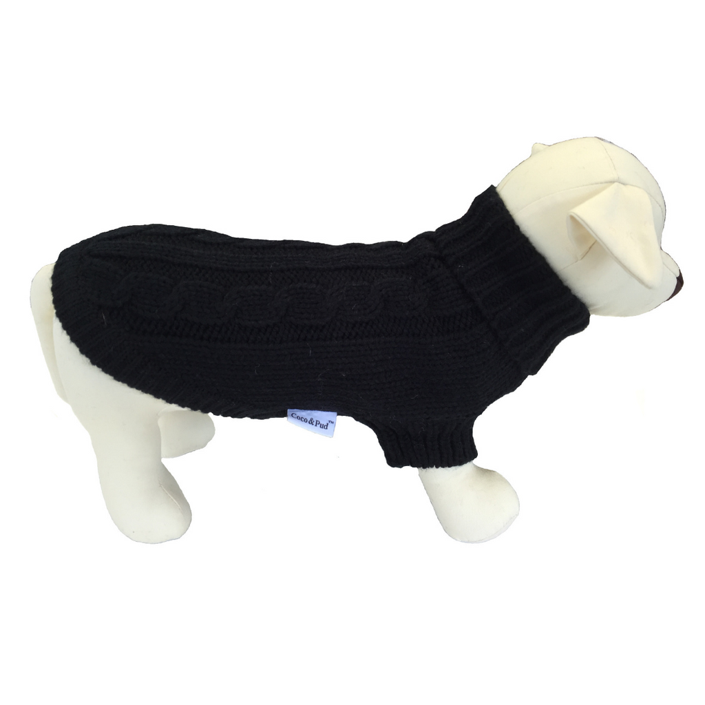 Coco & Pud Brighton Dog Sweater - Black