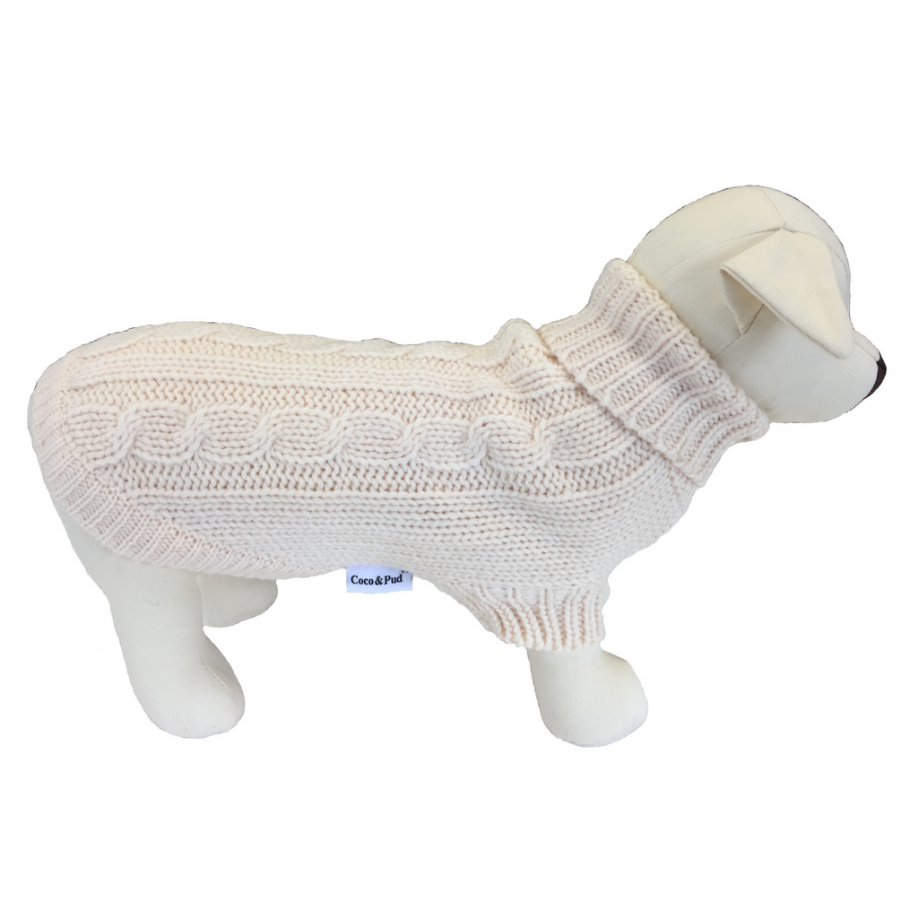 Brighton Dog Sweater - Cream - Coco & Pud