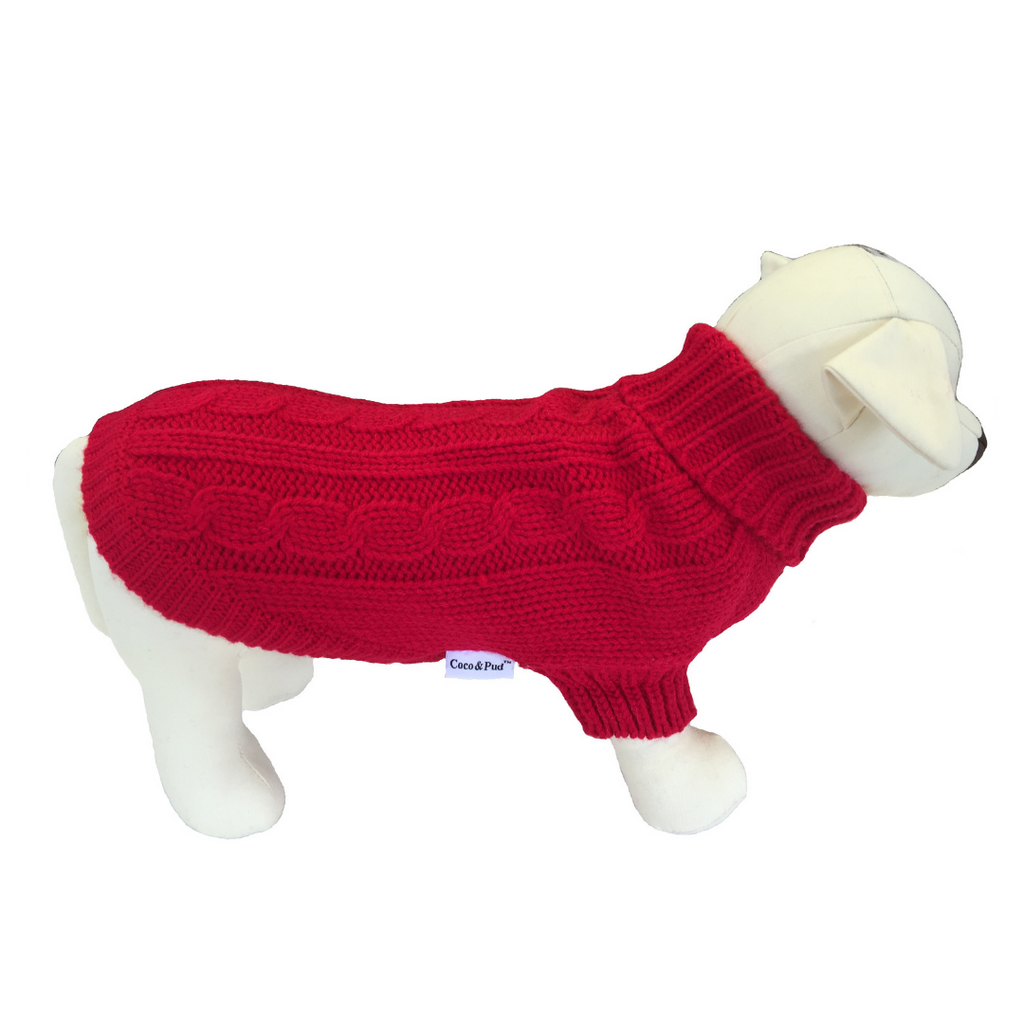 Brighton Dog Sweater - Red - Coco & Pud