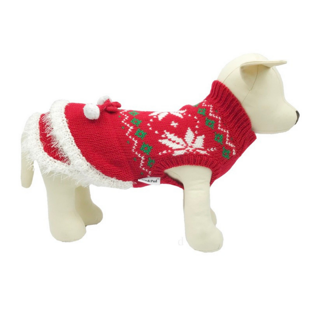 Christmas Snowflake & Pom Pom Dog Sweater - Coco & Pud