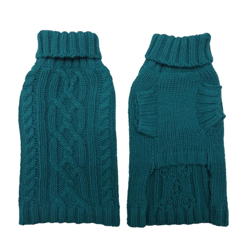 Coco & Pud Cable Dog Sweater Teal front & Back