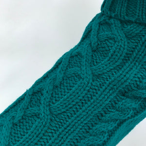 Coco & Pud Cable Dog Sweater Teal Texture