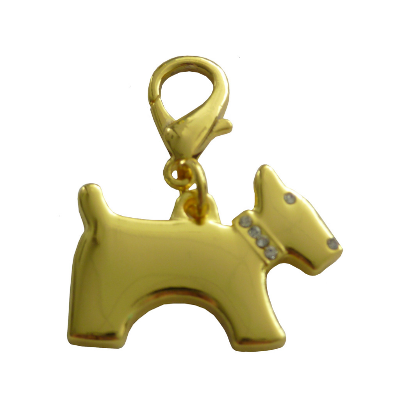 Terrier Dog Collar Charm - Gold - Coco & Pud