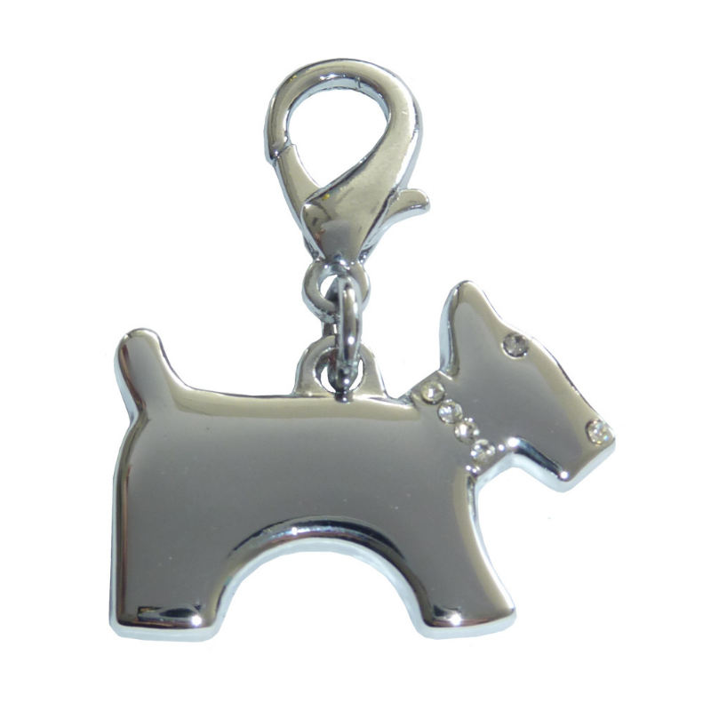 Terrier Dog Collar Charm - Silver
