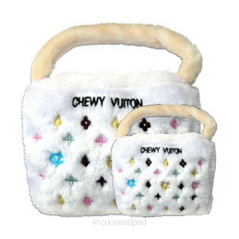 Coco & Pud Chewy Vuiton White Bag Dog Toy
