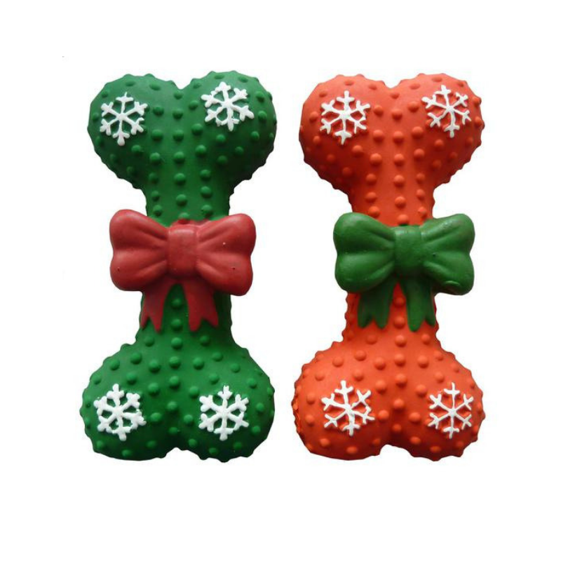 Christmas Bone Dog Toy - Red & Green - Coco & Pud