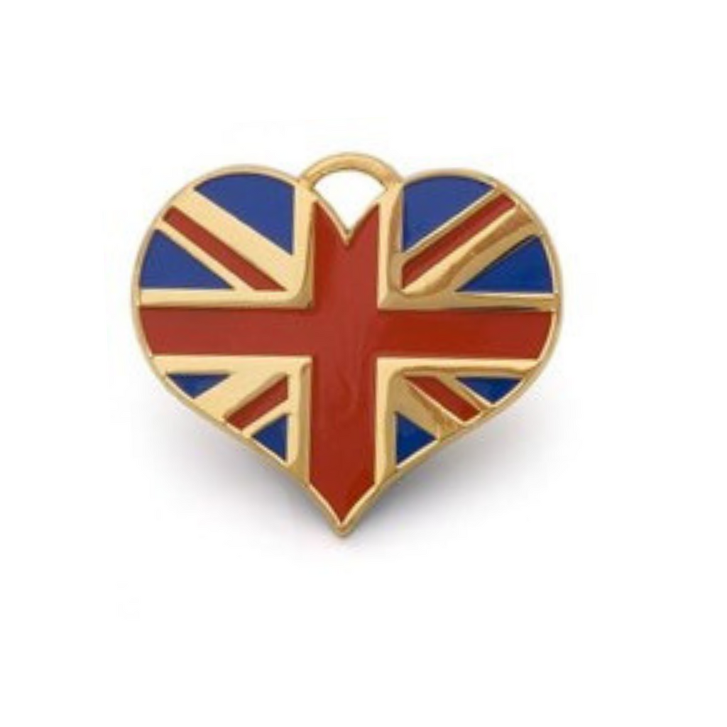Union Jack Heart ID Tag - Gold - Coco & Pud